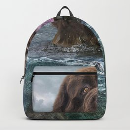 Majestic Newfoundland Dog Swimming Ultra HD Backpack