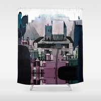 castle Shower Curtains featuring CASTLE by TortueMasquee