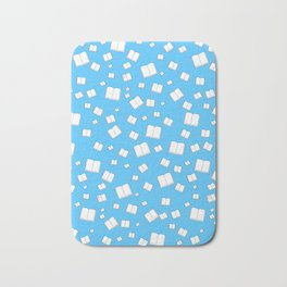 Blue Flying Books Pattern Bath Mat