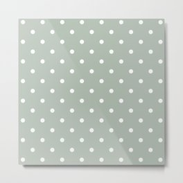 Polka Dots Pattern: Neutral Green Metal Print
