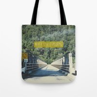 never stop exploring Tote Bags featuring Never Stop Exploring by Louise