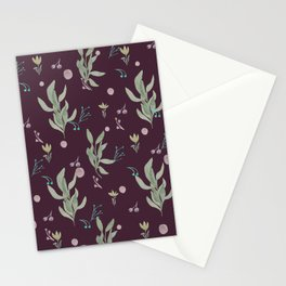 Modern burgundy pink pastel green watercolor floral Stationery Cards