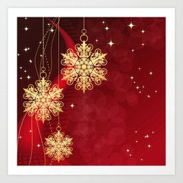 Pretty Christmas Ornaments Red Gold Holiday Decor Art Print