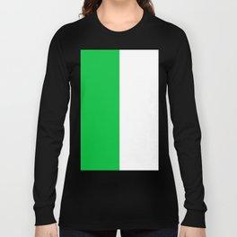 White and Dark Pastel Green Vertical Halves Long Sleeve T-shirt