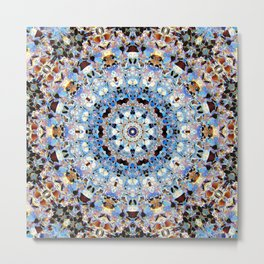 Blue Brown Folklore Texture Mandala Metal Print