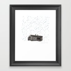 Cabin In The Rain Framed Art Print