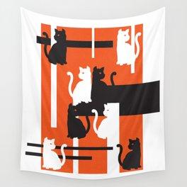 Cat in De Stijl - Halloween Edition Wall Tapestry