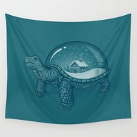 tortoise Wall Tapestries featuring Home Sweet Home by Enkel Dika