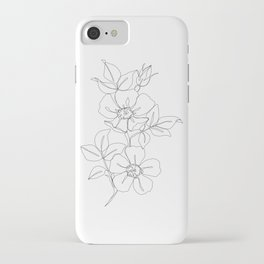 Floral one line drawing - Rose iPhone Case