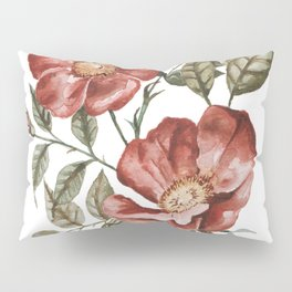 Red Floral Painting Pillow Sham
