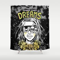 cyberpunk Shower Curtains featuring TEENAGE SPACE DREAMS by Lokhaan