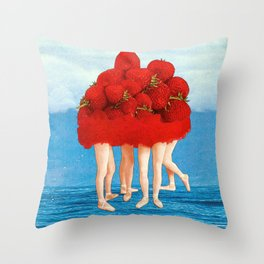 Strawberries dancers of the Sea Throw Pillow