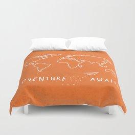 Adventure Map - Retro Orange Duvet Cover