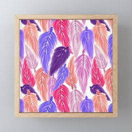 Watercolor Macrame Feather Toss in White + Purple Pink Framed Mini Art Print