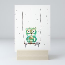 Owl Fun #1 #mint #green #gold #drawing #decor #art #society6 Mini Art Print
