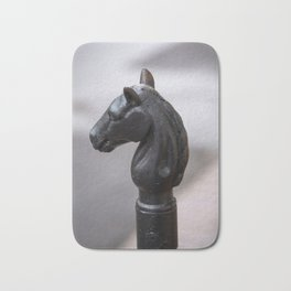 Standing Guard - Horse Head Hitching Post in New Orleans French Quarter Bath Mat