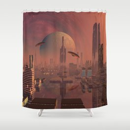 Futuristic City with Space Ships Shower Curtain