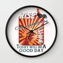 RISE & SHINE COCK-A-DOODLE-DOO Wall Clock