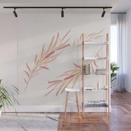 Eucalyptus Leaves Pink Wall Mural