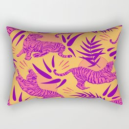 Tigers and Bamboos in Pink and Yellow Rectangular Pillow