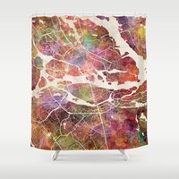 stockholm Shower Curtains featuring Stockholm by MapMapMaps.Watercolors