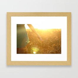 girl on the field Framed Art Print