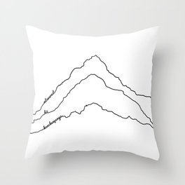 Tallest Mountains in the World B&W / Mt Everest K2 Kanchenjunga / Minimalist Line Drawing Art Print Throw Pillow