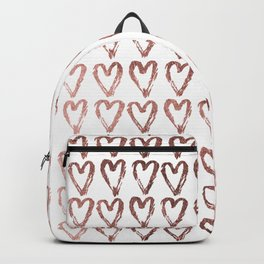 Chic faux rose gold modern romantic heart pattern Backpack