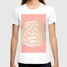 Rose White Gold Sands on Salmon Pink T-shirt