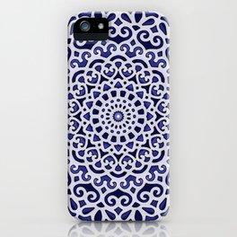 16 Fold Mandala in Blue iPhone Case
