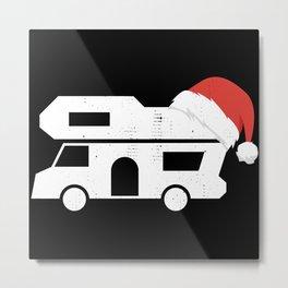 Retro Motorhome and Christmas Hat Gift Metal Print