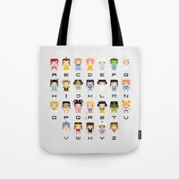 xena Tote Bags featuring Princess Alphabet by PixelPower