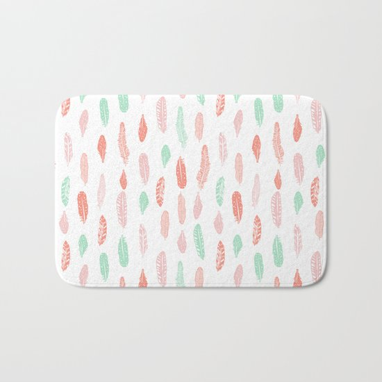 Feather mint pink and white minimal feathers pattern nursery gender neutral boho decor Bath Mat