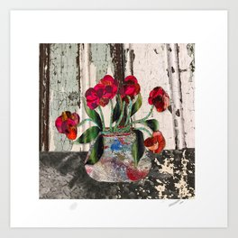 Red Flowers on Black Table Art Print