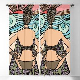 Morning Seaside Sunrise Lotus Pose Blackout Curtain