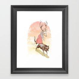 wolf and dear Framed Art Print
