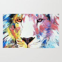 Colorful Lion Painting inspired by Vincent Van Gogh Rug