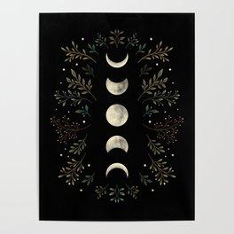 Moonlight Garden - Olive Green Poster
