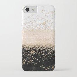 Elegant rose gold confetti marble design iPhone Case