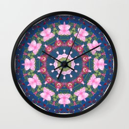 Flower-Mandala, blue pink, Spring blossoms Wall Clock