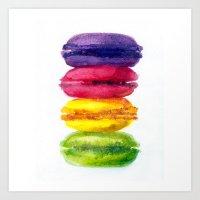 macaroons Art Prints featuring Macaroons by AnaStasiaartdesign