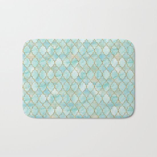 Luxury Aqua and Gold oriental pattern Bath Mat
