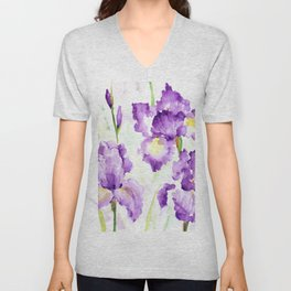 Watercolor Blue Iris Flowers Unisex V-Neck