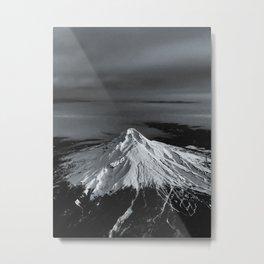 Mount Hood, Oregon x Aerial BW Metal Print