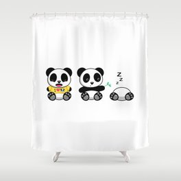 Three Little Pandas Shower Curtain