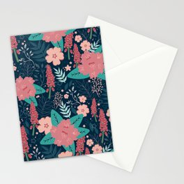 Midnight Tropical Blooms Stationery Cards