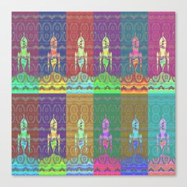Twelve Colorful Space Rockets Canvas Print