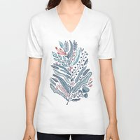 leaf V-neck T-shirts featuring Turning Over A New Leaf by Monica Gifford