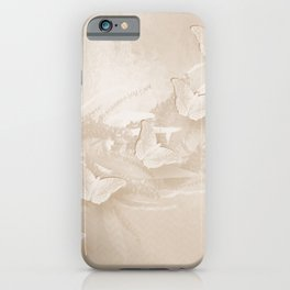 Fabulous butterflies and wattle with textured chevron pattern in subtle iced coffee iPhone Case