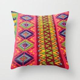 Colorful Guatemalan Alfombra Throw Pillow